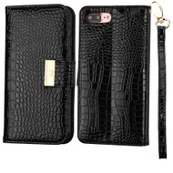 *SALE* Crocodile Embossed Leather Wallet Case for iPhone 8 Plus / 7 Plus - Black