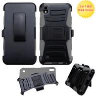 *SALE* Advanced Armor Hybrid Kickstand Case with Holster for LG K6 / X Power - Black Grey