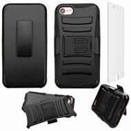 Advanced Armor Hybrid Kickstand Case with Holster and Tempered Glass Screen Protector for iPhone 8 / 7 - Black
