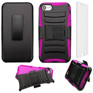 Advanced Armor Hybrid Kickstand Case with Holster and Tempered Glass Screen Protector for iPhone 8 / 7 - Black Hot Pink