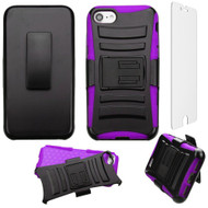 Advanced Armor Hybrid Kickstand Case with Holster and Tempered Glass Screen Protector for iPhone 8 / 7 - Black Purple