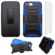 Advanced Armor Hybrid Kickstand Case with Holster and Tempered Glass Screen Protector for iPhone 8 Plus / 7 Plus - Blue
