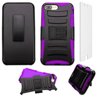 Advanced Armor Hybrid Kickstand Case + Holster + Tempered Glass Screen Protector for iPhone 8 Plus / 7 Plus - Purple