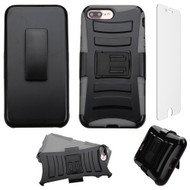 Advanced Armor Hybrid Kickstand Case with Holster and Tempered Glass Screen Protector for iPhone 8 Plus / 7 Plus - Grey