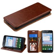 Book-Style Leather Folio Case for Alcatel Stellar / TRU - Brown