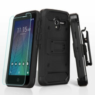 *Sale* 3-IN-1 Kinetic Hybrid Armor Case + Holster + Tempered Glass Screen Protector for Alcatel Stellar / TRU - Black