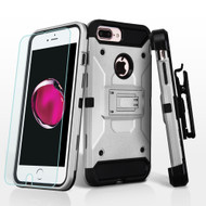 3-IN-1 Kinetic Hybrid Armor Case + Holster + Tempered Glass Screen Protector for iPhone 8 Plus / 7 Plus - Silver