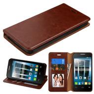 Book-Style Leather Folio Case for Alcatel Fierce 4 / OneTouch Allura / Pop 4 Plus - Brown