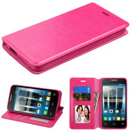 Book-Style Leather Folio Case for Alcatel Fierce 4 / OneTouch Allura / Pop 4 Plus - Hot Pink