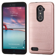 Brushed Multi-Layer Hybrid Armor Case for ZTE Zmax Pro / Grand X Max 2 / Imperial Max / Max Duo 4G - Rose Gold