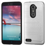 Brushed Multi-Layer Hybrid Armor Case for ZTE Zmax Pro / Grand X Max 2 / Imperial Max / Max Duo 4G - Silver