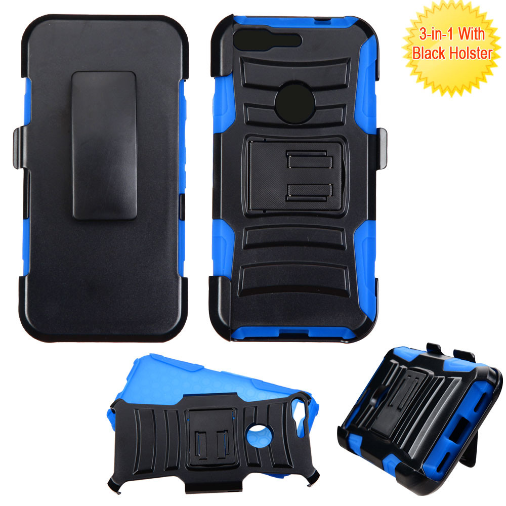 Advanced Armor Hybrid Kickstand Case With Holster For Google Pixel Black Blue Hd Accessory