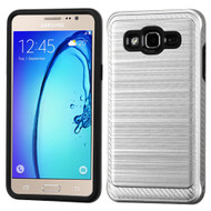 Brushed Multi-Layer Hybrid Armor Case for Samsung Galaxy On5 - Silver