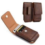 Premium Vertical Leather Pouch Case - Brown