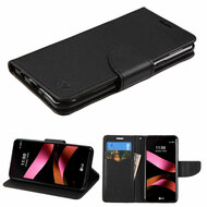 Diary Leather Wallet Case for LG Tribute HD / X Style - Black