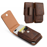 Premium Vertical Leather Pouch Case - Brown 24481