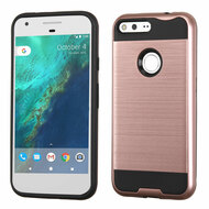 Brushed Hybrid Armor Case for Google Pixel XL - Rose Gold