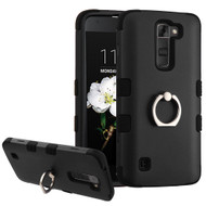 Military Grade Certified TUFF Hybrid Armor Case with Ring Holder for LG K7 / Treasure LTE / Tribute 5 - Black