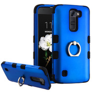Military Grade Certified TUFF Hybrid Armor Case with Ring Holder for LG K7 / Treasure LTE / Tribute 5 - Blue