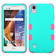 Military Grade TUFF Hybrid Armor Case for LG Tribute HD / X Style - Teal Hot Pink