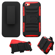 *SALE* Advanced Armor Hybrid Kickstand Case with Holster and Screen Protector for iPhone SE / 5S / 5 - Black Red