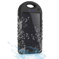 *SALE* Solar Powered Water Resistant Battery Charger Power Bank Dual USB Ports 5000mAh - Black