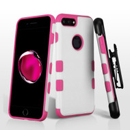 Military Grade Certified TUFF Merge Hybrid Armor Case with Holster for iPhone 8 Plus / 7 Plus - White Hot Pink