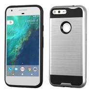 Brushed Hybrid Armor Case for Google Pixel XL - Silver