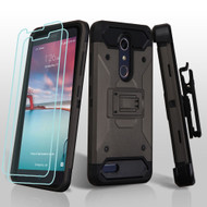 *SALE* 3-IN-1 Kinetic Hybrid Armor Case with Holster for ZTE Zmax Pro / Grand X Max 2 / Imperial Max / Max Duo 4G - Grey