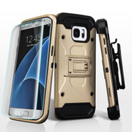 3-IN-1 Kinetic Hybrid Armor Case with Holster and Screen Protector for Samsung Galaxy S7 Edge - Gold