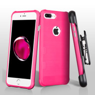 TUFF Cosmic Space Premium TPU Case with Holster for iPhone 8 Plus / 7 Plus - Hot Pink