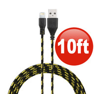10 ft. Eco-Friendly Braided Nylon Fiber Lightning Connector to USB Charge and Sync Cable - Black