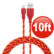 10 ft. Eco-Friendly Braided Nylon Fiber Lightning Connector to USB Charge and Sync Cable - Red