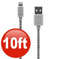 10 ft. Eco-Friendly Braided Nylon Fiber Lightning Connector to USB Charge and Sync Cable - White
