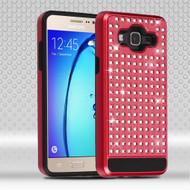 Luxury Bling Diamond Hybrid Case for Samsung Galaxy On5 - Red
