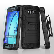 *SALE* Military Grade Storm Tank Hybrid Case + Holster + Tempered Glass Screen Protector for Samsung Galaxy On5 - Black
