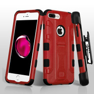 *SALE* Military Grade TUFF Galactic Hybrid Armor Kickstand Case with Holster for iPhone 8 Plus / 7 Plus - Red