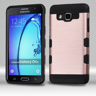 Military Grade Certified TUFF Trooper Dual Layer Hybrid Armor Case for Samsung Galaxy On5 - Brushed Rose Gold