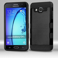 Military Grade TUFF Trooper Dual Layer Hybrid Armor Case for Samsung Galaxy On5 - Brushed Black