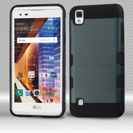 Military Grade Certified TUFF Trooper Dual Layer Hybrid Armor Case for LG Tribute HD / X Style - Brushed Slate Blue