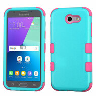 Military Grade TUFF Case for Samsung Galaxy J3 (2017) / J3 Emerge / J3 Prime / Amp Prime 2 / Sol 2 - Teal Pink