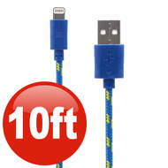 10 ft. Eco-Friendly Braided Nylon Fiber Lightning Connector to USB Charge and Sync Cable - Blue