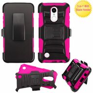 *SALE* Advanced Armor Hybrid Kickstand Case with Holster for LG Aristo / Fortune / K8 2017 / Phoenix 3 - Black Hot Pink