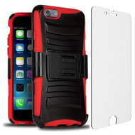 Advanced Armor Hybrid Case with Holster and Tempered Glass Screen Protector for iPhone 6 Plus / 6S Plus - Black Red