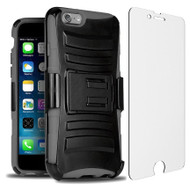 Advanced Armor Hybrid Case with Holster and Tempered Glass Screen Protector for iPhone 6 Plus / 6S Plus - Black Grey