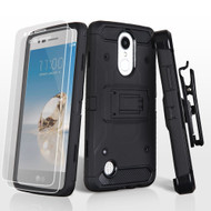 *SALE* Kinetic Hybrid Armor Case with Holster and Screen Protector for LG Aristo / Fortune / K8 2017 / Phoenix 3 - Black