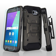 *SALE* Kinetic Holster Case + Tempered Glass for Samsung Galaxy J3 (2017) / J3 Emerge / J3 Prime / Amp Prime 2 - Grey