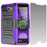 Advanced Holster Case + Tempered Glass for Samsung Galaxy J3 (2017) / J3 Emerge / J3 Prime / Amp Prime 2 - Purple
