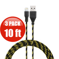 *SALE* 10 ft. Eco-Friendly Braided Nylon Fiber Lightning Connector to USB Charge and Sync Cable - 3 Pack Black