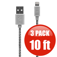 *SALE* 10 ft. Eco-Friendly Braided Nylon Fiber Lightning Connector to USB Charge and Sync Cable - 3 Pack White